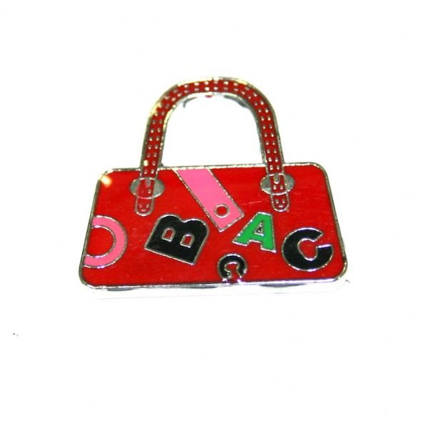 1pce x 24*22mm rhodium plated dark red handbag with letters enamel charm - SD03 - CHE1221